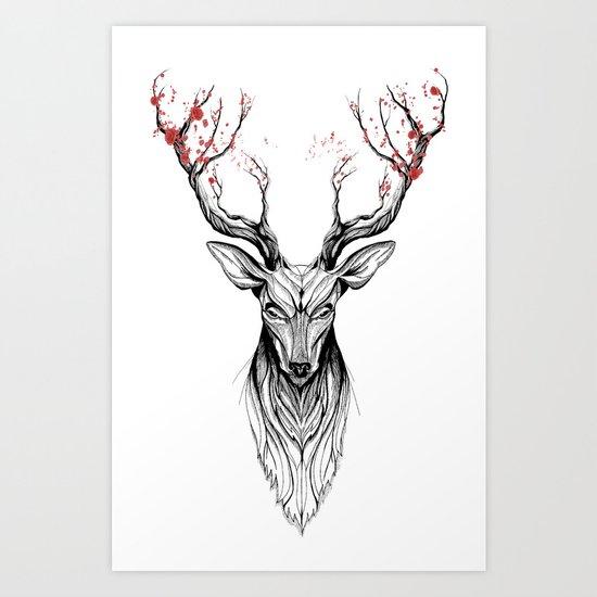 Deer tree (black stroke version for t-shirts) Art Print
