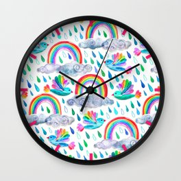 Spring Showers and Rainbow Birds on White Wall Clock