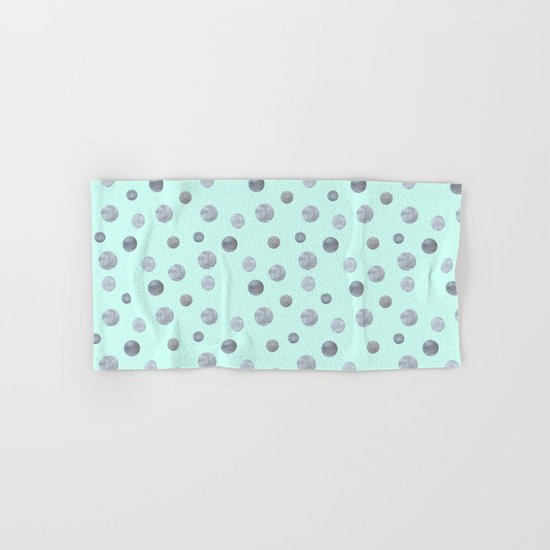 Silver dots on mint Hand & Bath Towel