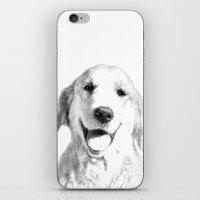 golden retriever iPhone & iPod Skins featuring Amber // Golden Retriever by Dog of Art