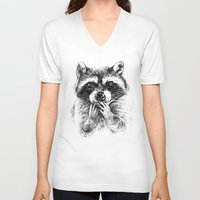 rocket raccoon V-neck T-shirts featuring Surprised raccoon by Anna Shell