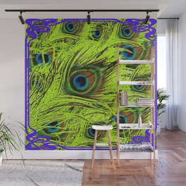 PURPLE ART NOUVEAU GREEN PEACOCK FEATHERS ABSTRACT ART Wall Mural