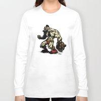 street fighter Long Sleeve T-shirts featuring Bear Wrestler - Street Fighter by Peter Forsman
