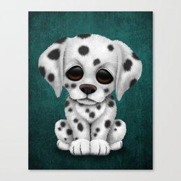 Cute Dalmatian Puppy Dog on Blue Canvas Print