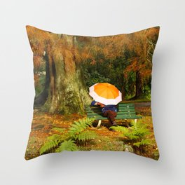 Woman sitting with umbrella Throw Pillow