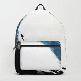 Reykjavik: a pretty and minimal mixed media piece in black, white, and blue Backpack