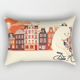 Happy Ghost Biking Through Amsterdam Rectangular Pillow