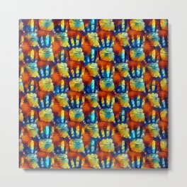 Colorful hands pattern, red, yellow, blue palms theme, palm prints design Metal Print