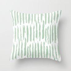 Vertical Dash Stripes Pastel Cactus Green on White Throw Pillow