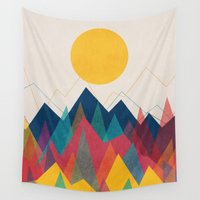 mountains Wall Tapestries featuring Uphill Battle by Picomodi
