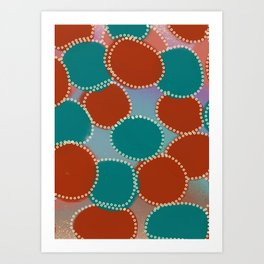 Turquoise and Red Abstract Art Print