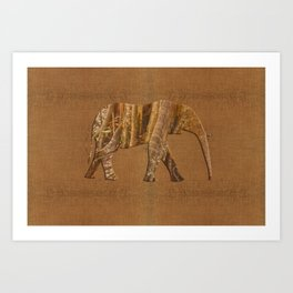 Rainforest Elephant - Tribal African Art Style Art Print