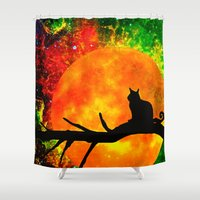 black cat Shower Curtains featuring Black Cat by Saundra Myles