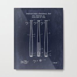 Early 1900s Design for a Baseball Bat patent Metal Print