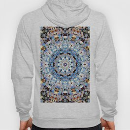 Blue Brown Folklore Texture Mandala Hoody