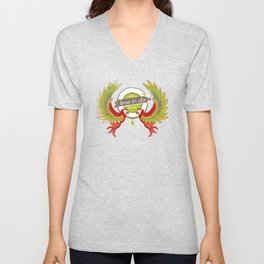 Lime in the coconut and two scarlet macaws. Unisex V-Neck