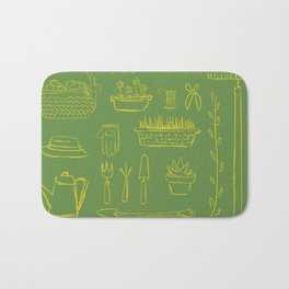 Gardening and Farming! - illustration pattern Bath Mat