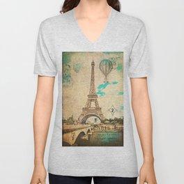 Vintage Eiffel Tower Paris Unisex V-Neck