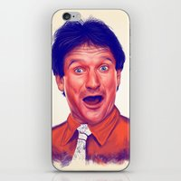 robin williams iPhone & iPod Skins featuring Young Robin Williams  by Thubakabra