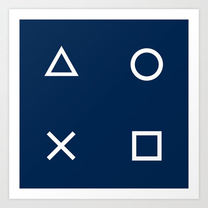 Gamepad Symbols Pattern - Navy Blue Kunstdrucke