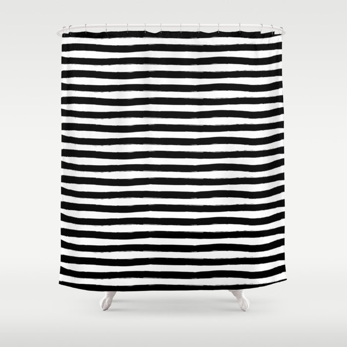 Black And White Hand Drawn Horizontal Stripes Shower Curtain