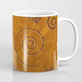 Graphic Fossil Leaf and Shell Shapes Red Sand Pattern Coffee Mug