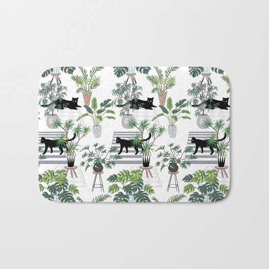 cats in the interior pattern Bath Mat