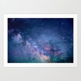 Purple Glitter Galaxy Art Print