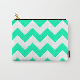 Mint Chevron Carry-All Pouch