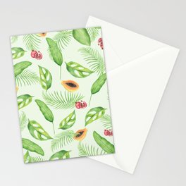 Papayas and Tropical Leaf Print Stationery Cards