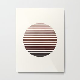 Raw Umber Mid Century Modern Abstract Minimalist Circle Sunset Stripes Ombre Watercolor Geometric Ar Metal Print