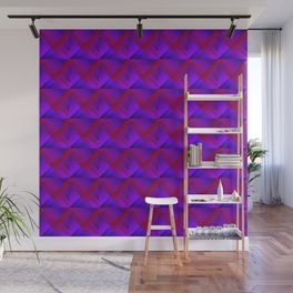 Stripes of violet triangles with the shadow of squares and the intersection of rhombuses. Wall Mural