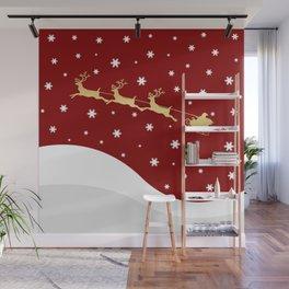 Red Christmas Santa Claus Wall Mural