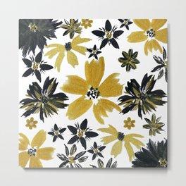 Modern hand paint watercolor faux glitter flowers Metal Print