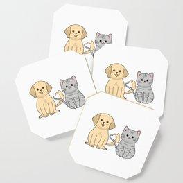 Cute retriever puppy and grey shorthair kitten Coaster