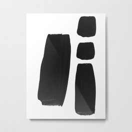 Black And White Minimalist Mid Century Abstract Ink Art Simple Brush Strokes Square Exclamation Mark Metal Print