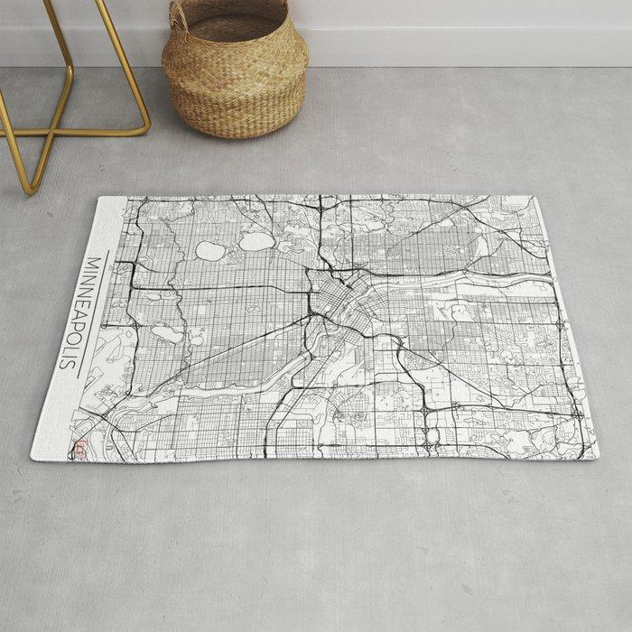 Minneapolis Map White Rug