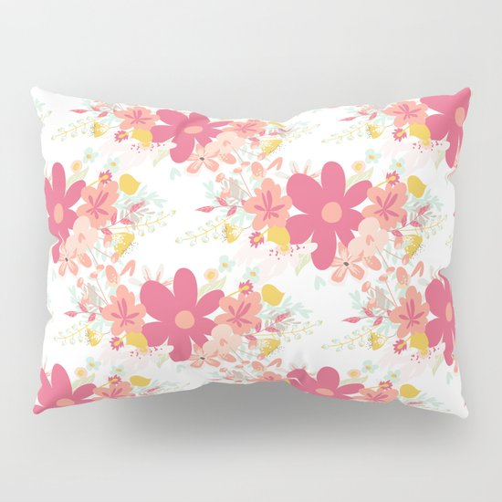 Modern Country Pillows : Botanical coral pink modern country floral Pillow Sham by Pink Water Society6