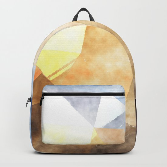 On the fields- Abstract watercolor triangle pattern Backpack