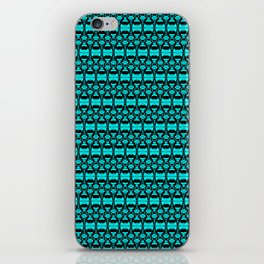 Abstract Pattern Dividers 02 in Turquoise Black iPhone Skin
