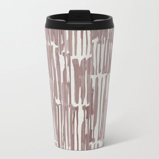 Simply Bamboo Brushstroke Red Earth on Lunar Gray Metal Travel Mug