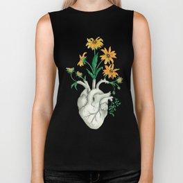 Floral Heart: Sunflower Human Anatomy Biker Tank