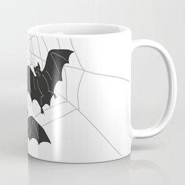 Black Bats with Spider Web Halloween Coffee Mug