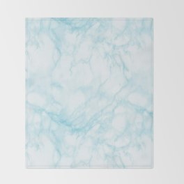 Elegant pastel blue white modern marble Throw Blanket