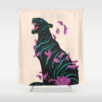 tiger Shower Curtains featuring Black tiger by Roland Banrevi