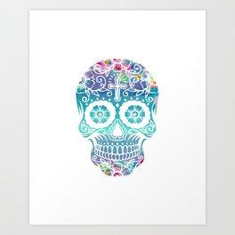 Watercolor floral sugar skull Art Print