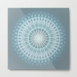 Grayish Teal Mandala Metal Print