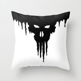 Dissolved Black Skull Throw Pillow