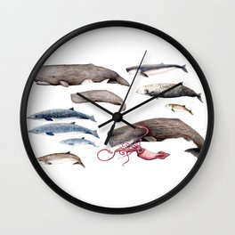 Deep sea whales Wall Clock