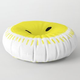 Happy yellow sun drawing with smily face Floor Pillow